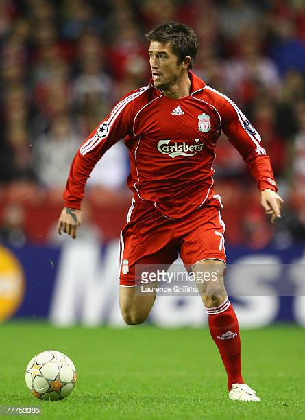 Harry Kewell of Liverpool in action during the UEFA Champions League Group A match between Liverpool and Besiktas at Anfield on November 6, 2007 in...