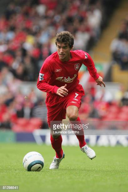 Harry Kewell of Liverpool runs with the ball during the FA Barclays Premiership match between Liverpool and West Bromwich Albion at Anfield on...