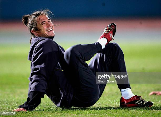 Harry Kewell of Liverpoolduring training at the Todoroki Track and Field Stadium on December 13 2005 in Tokyo Japan
