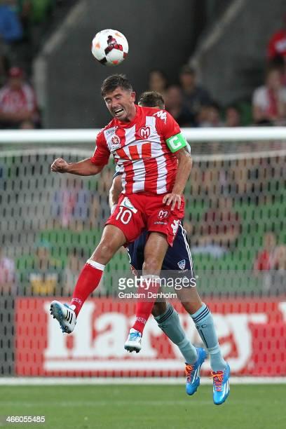 Harry Kewell of the Heart competes in the air during the round 17 ALeague match between Melbourne Heart and Sydney FC at AAMI Park on January 31 2014...