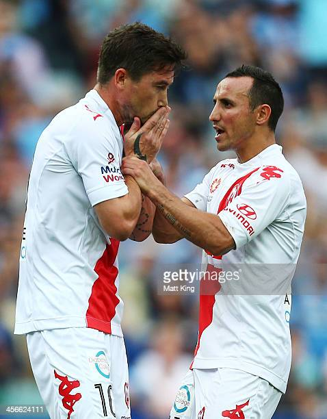 Harry Kewell of the Heart reacts with Michael Mifsud after missing a penalty kick during the round 10 ALeague match between Sydney FC and the...