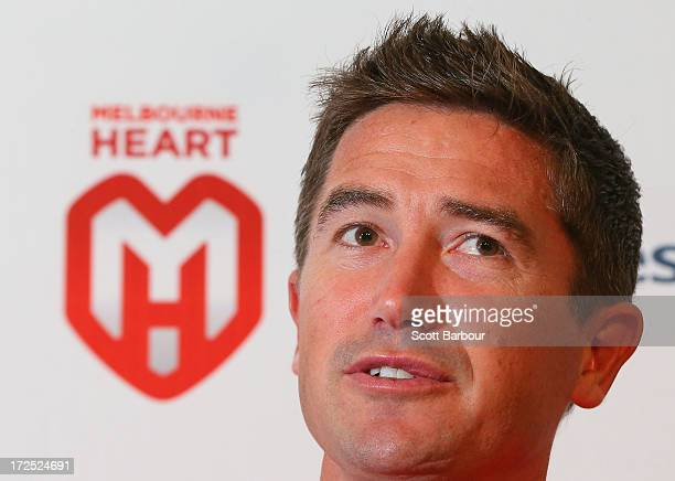 Harry Kewell of the Heart speaks to the media during a Melbourne Heart ALeague press conference at AAMI Park on July 3 2013 in Melbourne Australia