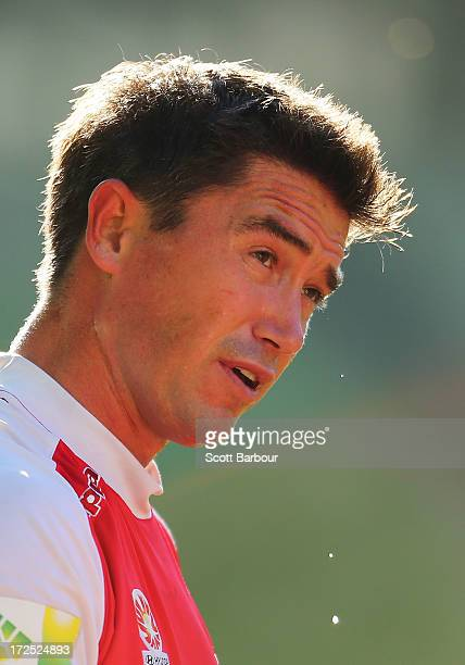 Harry Kewell of the Heart sweats during a Melbourne Heart ALeague training session at AAMI Park on July 3 2013 in Melbourne Australia