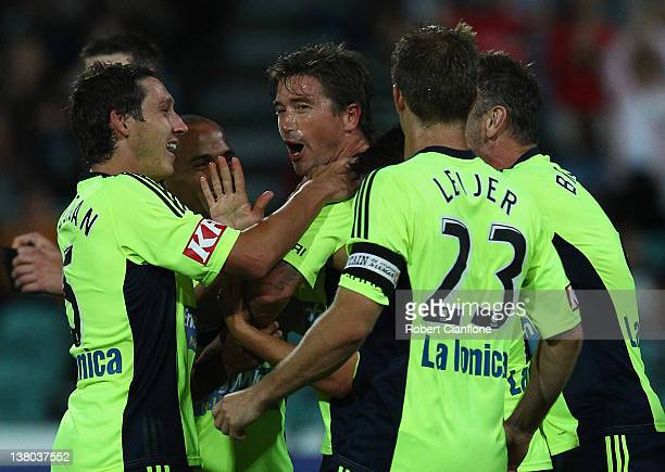 Harry Kewell of the Victory celebrates his goal during the round 17 ALeague match between the Melbourne Victory and Gold Coast United at Aurora...