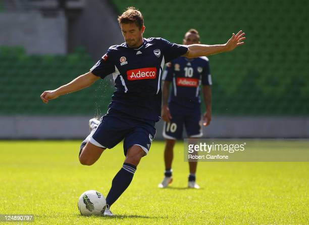 Harry Kewell of the Victory kicks the ball during a Melbourne Victory ALeague training session at AAMI Park on September 14 2011 in Melbourne...