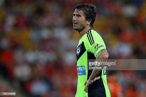 Harry Kewell of the Victory looks on during the round 20 ALeague match between the Brisbane Roar and the Melbourne Victory at Suncorp Stadium on...