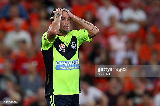 Harry Kewell of the Victory reacts during the round 20 ALeague match between the Brisbane Roar and the Melbourne Victory at Suncorp Stadium on...