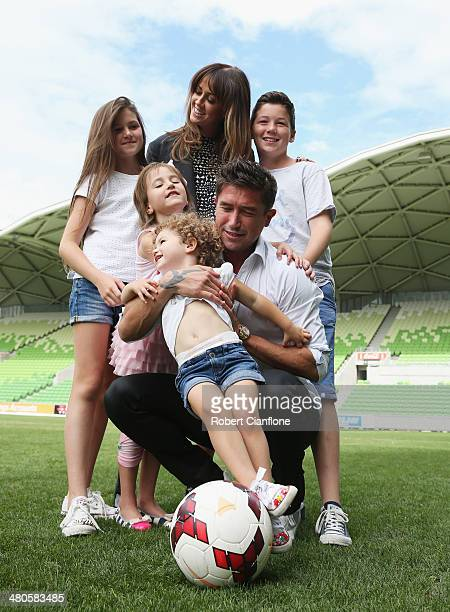 Harry Kewell poses with his wife Sheree Murphy and his children Dolly Kewell Ruby Kewell Matilda Kewell and Taylor Kewell during a Melbourne Heart...