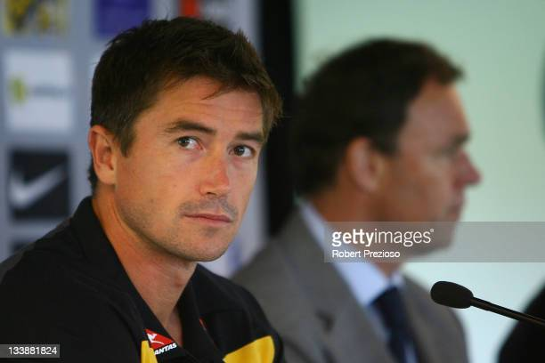 Harry Kewell speaks to the media during a Australian Socceroos FFA Press Conference at AAMI Park on November 22 2011 in Melbourne Australia