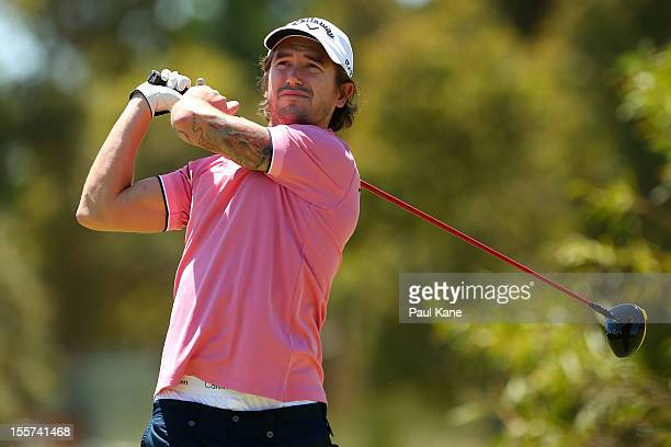 Harry Kewell tees off on the 2nd hole during the 2012 Jeep ProAm Series at The Vines Resort and Country Club on November 8 2012 in Perth Australia