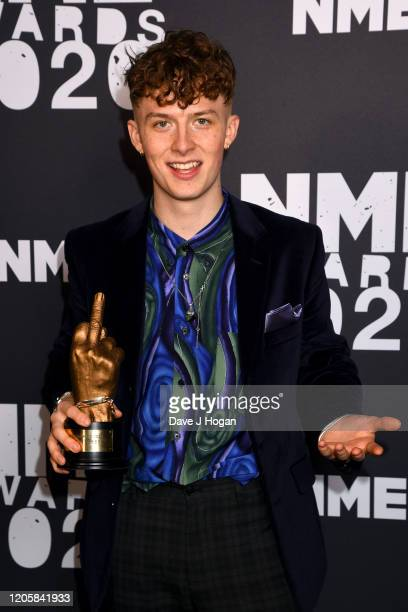 Harry Kirton poses in the winners room with the Best TV Series Award during the NME Awards 2020 at O2 Academy Brixton on February 12, 2020 in London,...