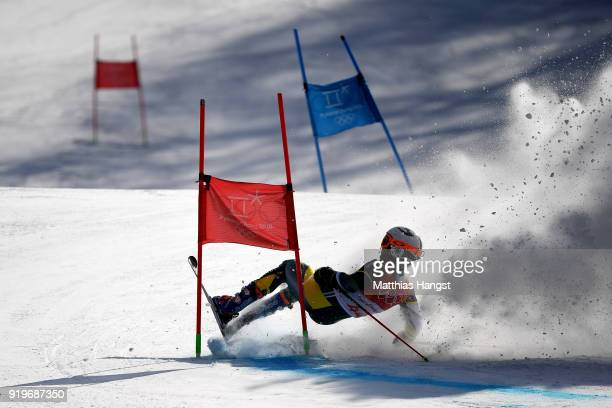 Harry Laidlaw of Australia crashes during the Alpine Skiing Men's Giant Slalom on day nine of the PyeongChang 2018 Winter Olympic Games at Yongpyong...