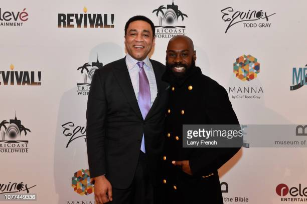 Harry Lennix and Mali Music are seen at the premiere of Harry Lennix's Film Revival a gospel musical based on the Book of John at the Museum of The...