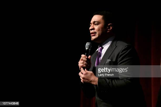 Harry Lennix appears on stage at the premiere of Harry Lennix's Film Revival!, a gospel musical based on the Book of John, at the Museum of The Bible...