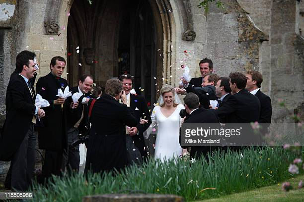 Harry Lopes and Laura Parker Bowles during Laura Parker Bowles and Harry Lopes Wedding at St Cyriac's Church in Lacock Great Britain