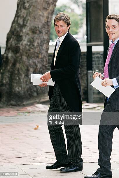 Harry Lopes arrives with Thomas William Anson Earl of Lichfield at St Paul's Church in Knightsbridge for a memorial service for Major Bruce Shand on...