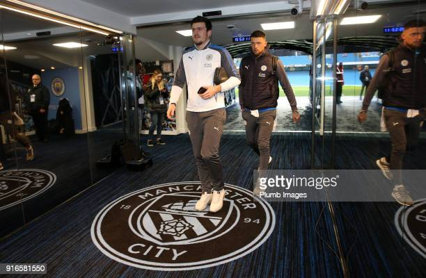 Harry Maguire and Ben Hamer of Leicester City arrive at Etihad Stadium ahead of the Premier League match between Manchester City and Leicester City...