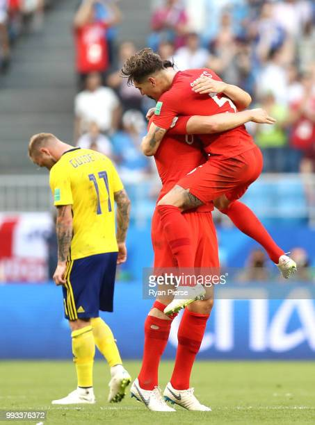 Harry Maguire and John Stones of England celebrates victory following the 2018 FIFA World Cup Russia Quarter Final match between Sweden and England...