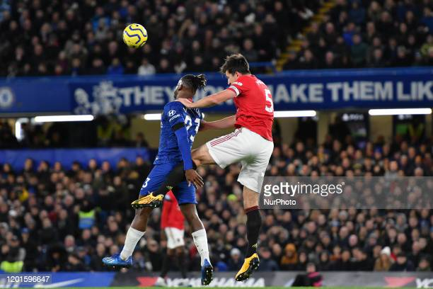 Harry Maguire and Michy Batshuayi during the Premier League match between Chelsea FC and Manchester United at Stamford Bridge on February 17 2020 in...