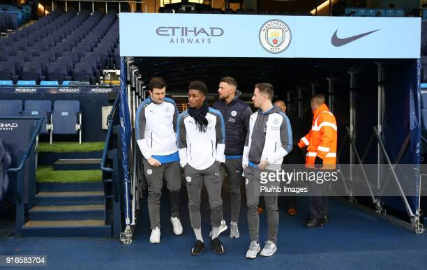 Harry Maguire Demarai Gray Ben Hamer and Ben Chilwell of Leicester City at Etihad Stadium ahead of the Premier League match between Manchester City...