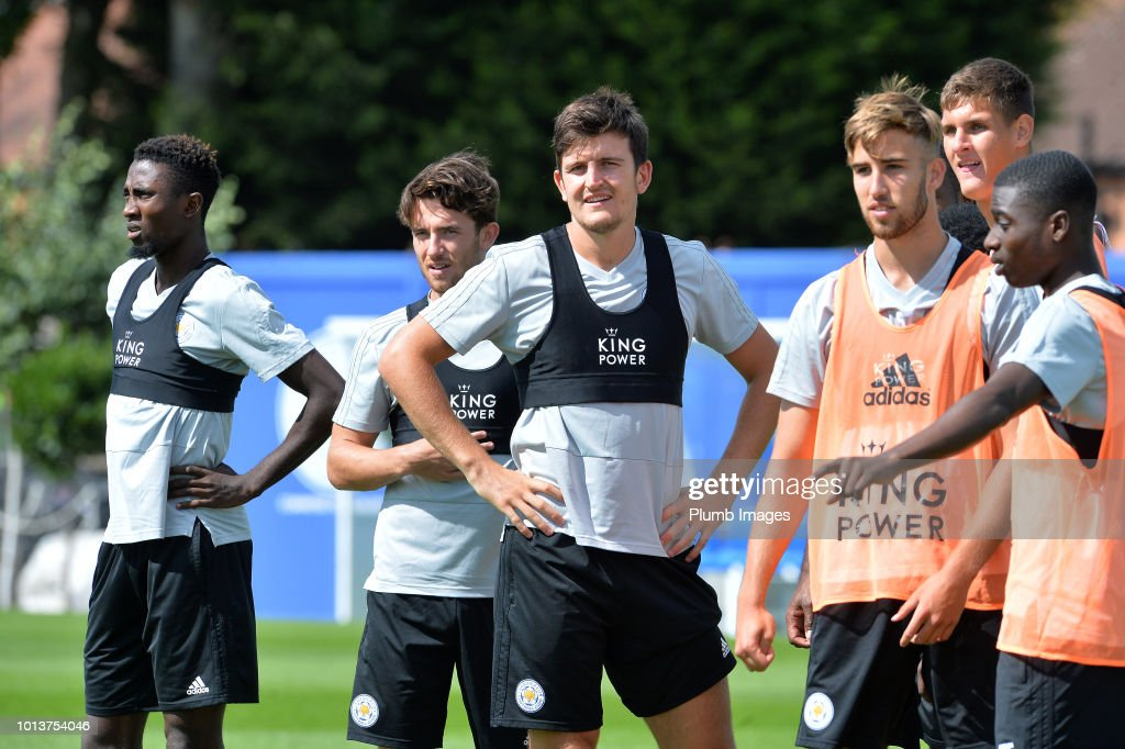 Harry Maguire (C) during the Leicester City training session at Belvoir Drive Training Complex on August 08, 2018 in Leicester, United Kingdom.