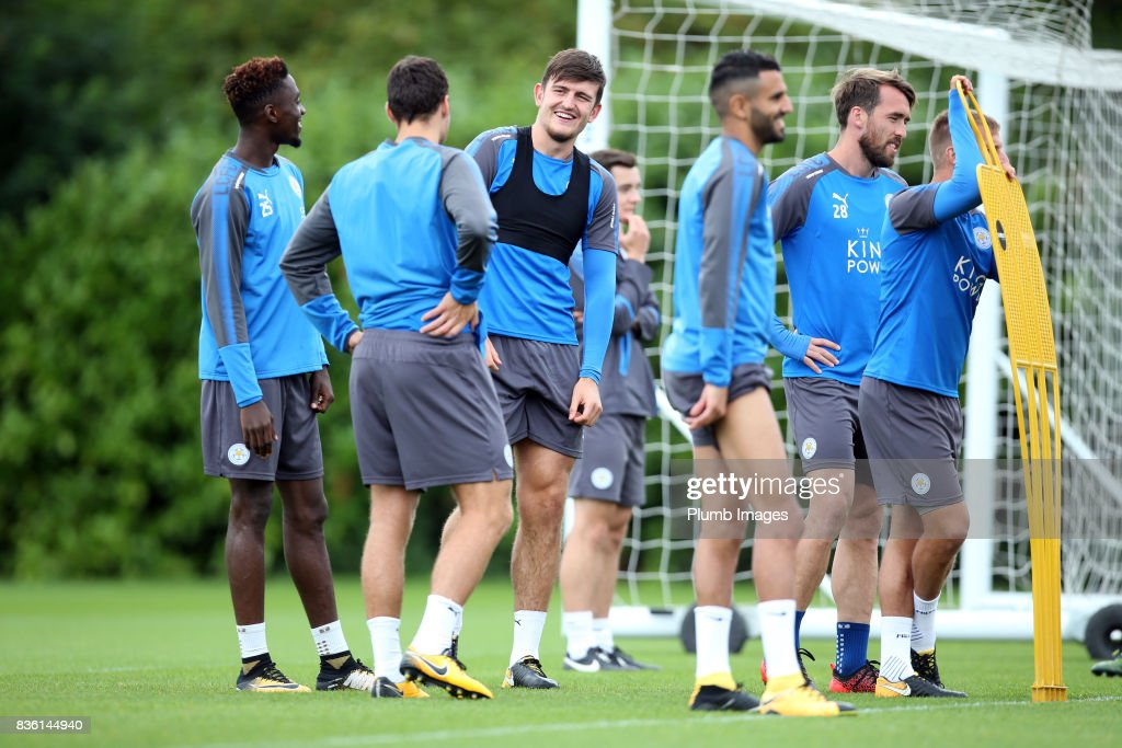 Harry Maguire during the Leicester City training session at Belvoir Drive Training Complex on August 21 , 2017 in Leicester, United Kingdom.