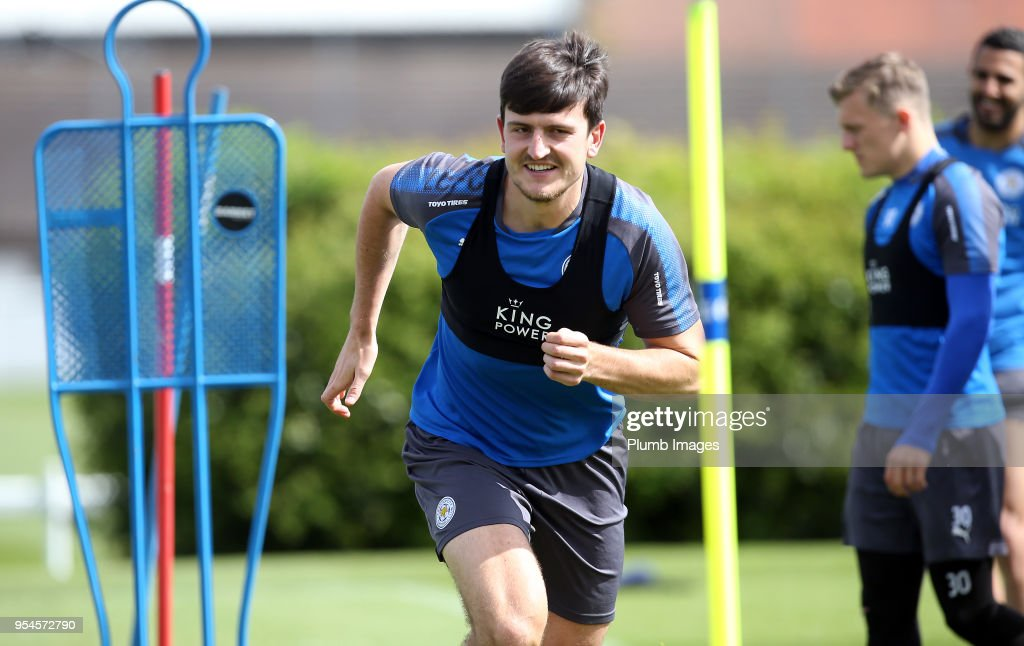 Harry Maguire during the Leicester City training session at Belvoir Drive Training Complex on May 04 , 2018 in Leicester, United Kingdom.
