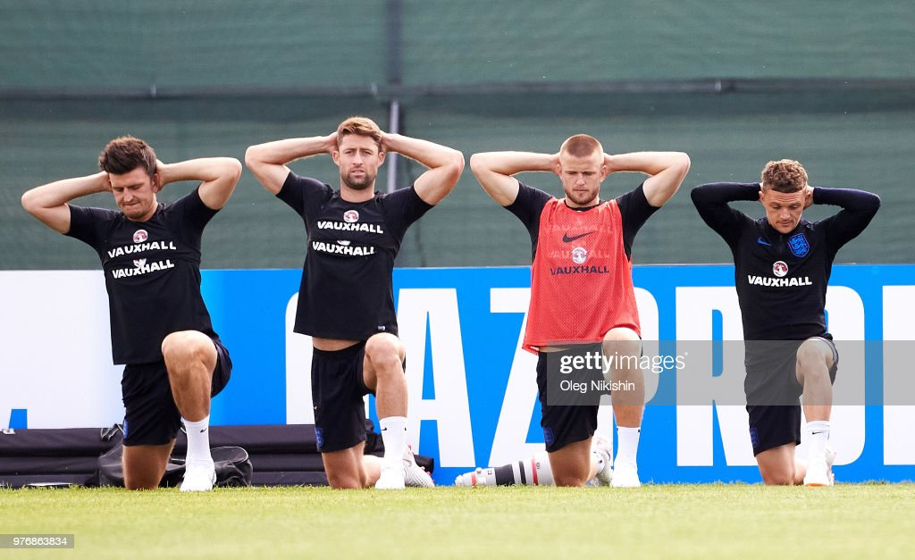 Harry Maguire, Gary Cahill, Eric Dier and Kieran Trippier of England during training session during the England Media Access on June 17, 2018 in Saint Petersburg, Russia.
