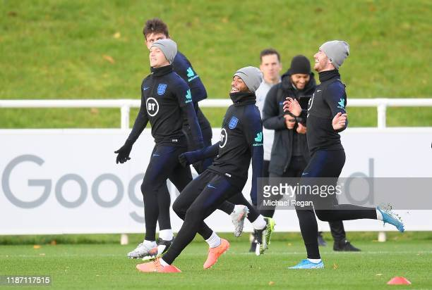 Harry Maguire, Kieran Trippier, Raheem Sterling and Ben Chilwell of England train during the England Training Session ahead of the UEFA Euro 2020...