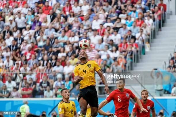 Harry Maguire of Belgium in action during the 2018 FIFA World Cup Russia 3rd Place Playoff match between Belgium and England at Saint Petersburg...