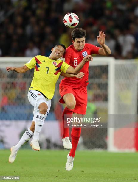 Harry Maguire of England Abel Aguilar of Colombia the 2018 FIFA World Cup Russia Round of 16 match between Colombia and England at Spartak Stadium on...