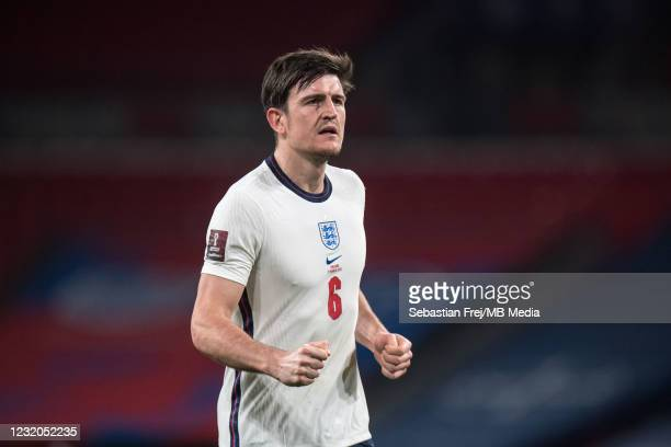 Harry Maguire of England after scoring goal during the FIFA World Cup 2022 Qatar qualifying match between England and Poland on March 31, 2021 in...