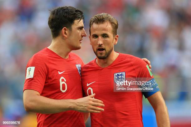 Harry Maguire of England and Harry Kane of England react after the 2018 FIFA World Cup Russia 3rd Place Playoff match between Belgium and England at...