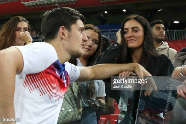 Harry Maguire of England and his girlfriend Fern Hawkins following the 2018 FIFA World Cup Russia Round of 16 match between Colombia and England at...