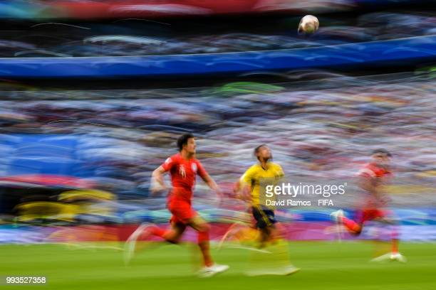 Harry Maguire of England and Marcus Berg of Sweden competes for the ball during the 2018 FIFA World Cup Russia Quarter Final match between Sweden and...