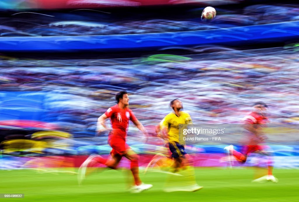 Harry Maguire of England and Marcus Berg of Sweden competes for the ball during the 2018 FIFA World Cup Russia Quarter Final match between Sweden and England at Samara Arena on July 7, 2018 in Samara, Russia.