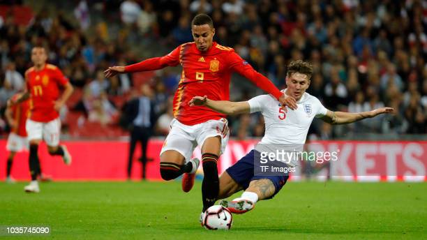 Harry Maguire of England and Rodrigo Moreno of Spain battle for the ball during the UEFA Nations League A group four match between England and Spain...