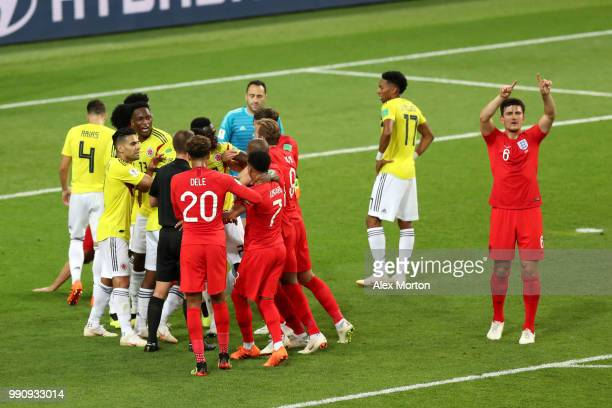 Harry Maguire of England calls for VAR after a clash between Jordan Henderson and Wilmar Barrios of Colombia during the 2018 FIFA World Cup Russia...