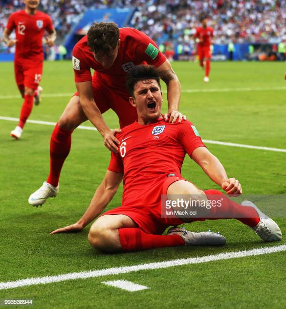 Harry Maguire of England celebrates after he scores the opening goal during the 2018 FIFA World Cup Russia Quarter Final match between Sweden and...