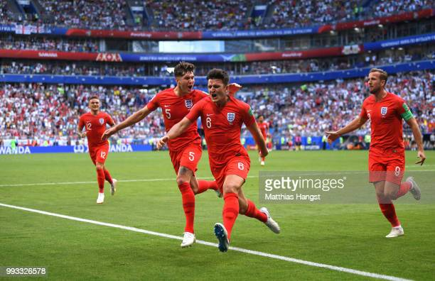 Harry Maguire of England celebrates after scoring his team's first goal during the 2018 FIFA World Cup Russia Quarter Final match between Sweden and...