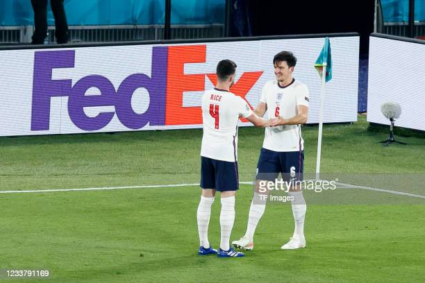 Harry Maguire of England celebrates after scoring his team's second goal with Declan Rice of England during the UEFA Euro 2020 Championship...