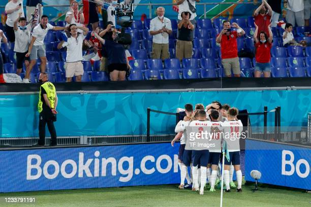 Harry Maguire of England celebrates after scoring his team's second goal with teammates during the UEFA Euro 2020 Championship Quarter-final match...