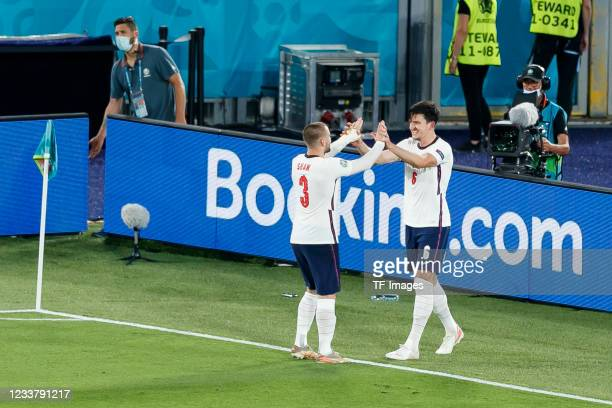 Harry Maguire of England celebrates after scoring his team's second goal with Luke Shaw of England during the UEFA Euro 2020 Championship...
