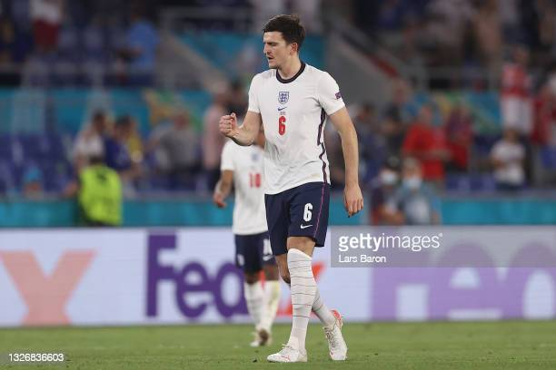 Harry Maguire of England celebrates after scoring their side's second goal during the UEFA Euro 2020 Championship Quarter-final match between Ukraine...