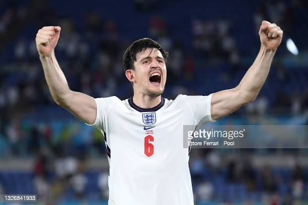Harry Maguire of England celebrates after victory in the UEFA Euro 2020 Championship Quarter-final match between Ukraine and England at Olimpico...
