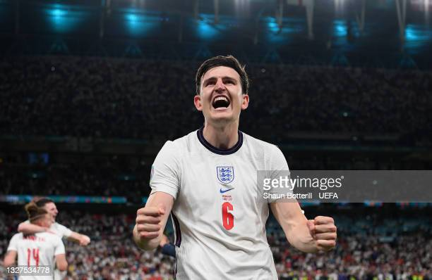 Harry Maguire of England celebrates after victory in the UEFA Euro 2020 Championship Semi-final match between England and Denmark at Wembley Stadium...