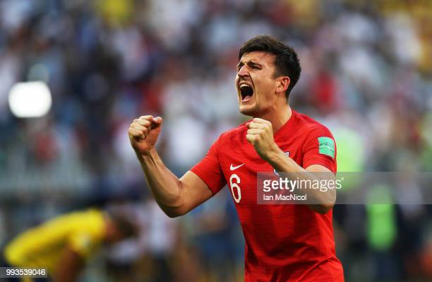 Harry Maguire of England celebrates during the 2018 FIFA World Cup Russia Quarter Final match between Sweden and England at Samara Arena on July 7...