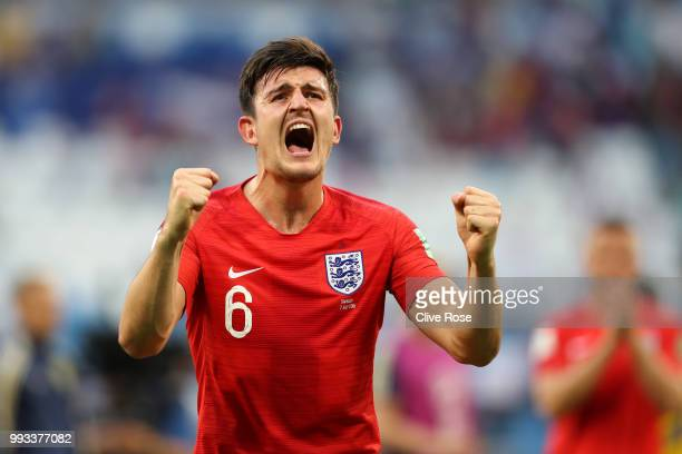 Harry Maguire of England celebrates following his sides victory in the 2018 FIFA World Cup Russia Quarter Final match between Sweden and England at...