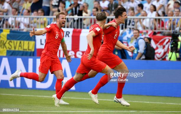 Harry Maguire of England celebrates his goal with Harry Kane during the 2018 FIFA World Cup Russia Quarter Final match between Sweden and England at...