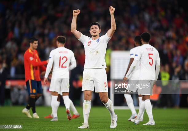 Harry Maguire of England celebrates victory after the UEFA Nations League A Group Four match between Spain and England at Estadio Benito Villamarin...